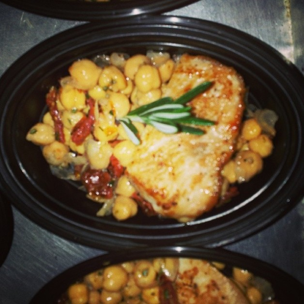 Pan seared halibut with sundried tomatoes and chick peas
